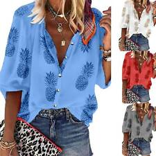 Womens Pineapple Print Half Sleeve Buttons Shirts Casual Top Blouse Boho T Shirt