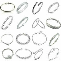 Noble Elegant 925 Silver Womens Girls Bangle Bracelet Adjustable Jewelry Gifts