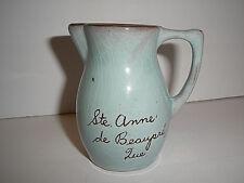 """Vintage Small Pastel Blue & Brown Clay Pitcher """"Ste. Anne de Beaupre, Que."""""""