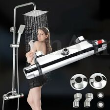 Modern Chrome Thermostatic Control Faucet Mixer Tap Shower Valve High Level