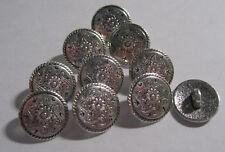 10 x Silver Colour lightweight METAL Shank Back Buttons 15mm Wide (B142)