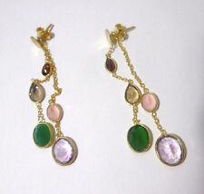 Multicolor Ohrringe, Citrin, Amethyst, Granat 925 Silber vergoldet