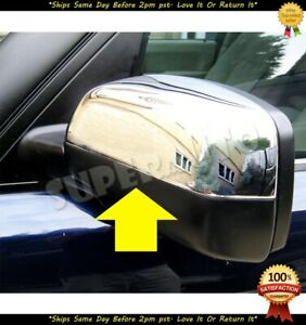 FOR 2009-2013 RANGE ROVER SPORT TOP HALF CHROME MIRROR COVERS OVERLAYS