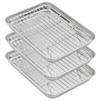 3x Lot Aspire Baking Sheet Wire Rack Set Stainless Steel Cooking Tray Roast Pan
