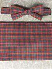 NWOT VINTAGE BLUE/GREEN/RED/GOLD Plaid Mens Tux cummerbund/banded bow tie set