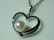 MIKIMOTO JAPAN AKOYA PEARL HEART PENDANT NECKLACE Silver