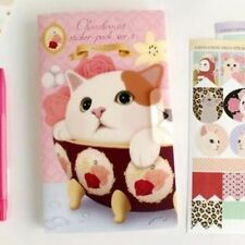 001 Jetoy Cat in teapot Diary deco 8 sheets stickers Album Kids, Girls, Children