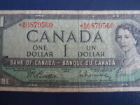 1954 Canada 1 Dollar Replacement Bank Note-*BM0879560-  21-4