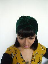 Bonnet original turban stretch velours vert émeraude épais pinup rétro glamour