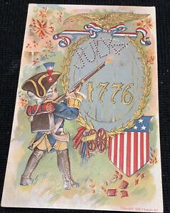 Vintage Postcard soldier firing rifle 4th of July 1776 embossed Patriotic