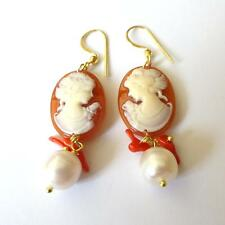Women's Earrings C. Gold cameo cameo face of a woman  coral, pearl - 24 AA
