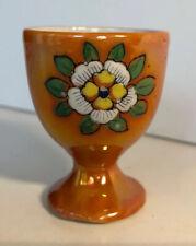 Vintage Egg Holder Cup Shiny Orange Flower Design