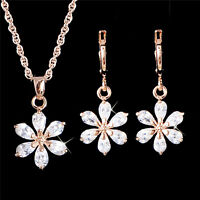 New Trendy 18k Gold Plated Clear CZ Jewelry Set Woman Flower Earrings Necklace
