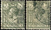 GB - KGV 1913 SG387 7d green (2 examples)  - FU/VFUsed