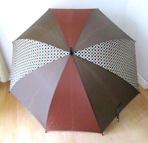 Vtg 90s Aramis Umbrella Brown Gray Olive Faux Burl Woodgrain Handle Promo Logo