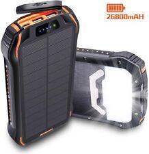 26800mAh Solar Power Bank, IP66 Waterproof Portable Solar Charger Outdoor Phone