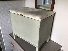 Vintage Green Lloyd Loom Small Ottoman Storage Stool #4940