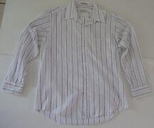 Giorgio Ferraro Dress Shirt Purple White Striped Size 16 Sleeve 32/33 Bohemian