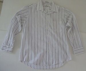 Giorgio Ferraro Casual Shirt Purple White Striped Size 16 Sleeve 32/33 Bohemian