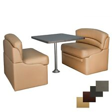 """RV 40"""" Toffee Dinette Booth Set Granite Chocolate Dining Table Kitchen Seating"""