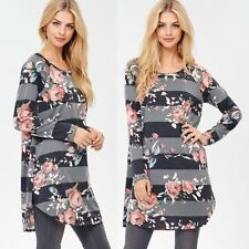 NWT Large Women's Floral 3/4 Sleeve Top Boutique Tunic