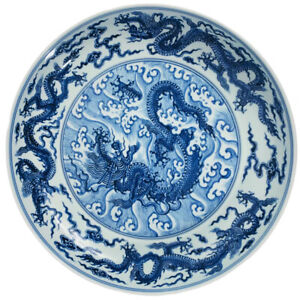 "Antique Xuande Period Mark Ming Style Blue & White Dragon Dish Bowl 12""W 2.5""H"