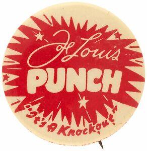 "1940s JOE LOUIS ""PUNCH"" BEVERAGE PROMOTION WORLD HEAVYWEIGHT CHAMPION BUTTON PIN"