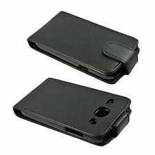 Men Black Flip Synthetic Leather Cover Case For Samsung Galaxy Core i8260 i8262