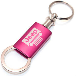 Jeep Grille Pink Logo Metal Aluminum Valet Pull Apart Key Chain Ring Fob