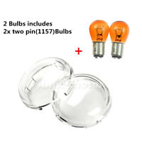 One Pair Clear Turn Signal Light Lens Cover &Bulbs Fit For Touring Softail Dyna
