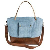 Women's Solid Canvas Tote Handbag Blue, Large MSRP $ 39.99