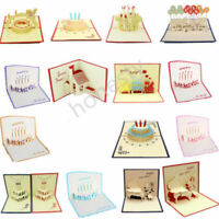 3D Luxury Handmade Pop Up Greeting Card Happy Birthday Blessing Lucky Gift