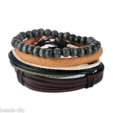1Set Braided Adjustable Leather Bracelet Punk Casual Cuff Women/Men`s Gift