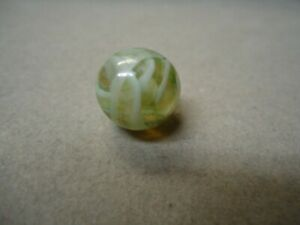 Vintage German Transparent  ? & White & Green Wire Pull Marble  9/16  Mint -