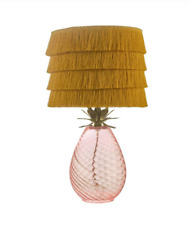 Debenhams 'Idalia' Table Lamp Pink Glass Base Pineapple Top Rust Orange Shade