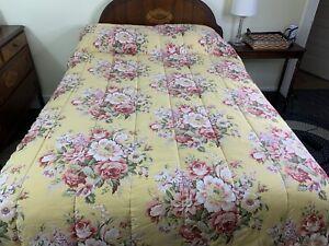 Ralph Lauren Sophie Brooke Pink Cabbage Roses on Yellow Full Queen Comforter