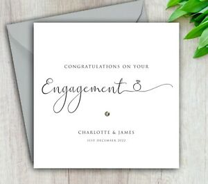 Personalised Engagement Card, Couple, Fiancee Fiance, Best Friends, Handmade