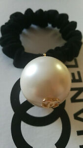 Authentic Coco Chanel elegant black elastic hair tie / band with a white pearl