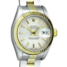 ROLEX - Ladies 18kt Gold & Stainless DateJust Silver Tapestry 79173 - SANT BLANC