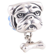 Bulldog Puppy Dog Charm Bead - Genuine 925 Sterling Silver - I Love My Dog