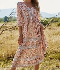 READ Floral Midi Dress V-neck Bishop Sleeve A-line Boho Chic Bohemian Pink Blush