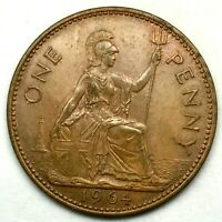 1964, GREAT BRITAIN, ELIZABETH II - ONE PENNY, BRONZE  COIN   - KM# 897