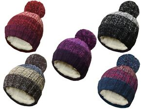 ROCKJOCK ADULT CHUNKY WOOL STRIPED CABLE KNIT LARGE POMPOM FLEECE LINED HAT