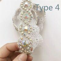 1 Yard AB Crystal Rhinestone Beaded Trim Ribbon Applique Bridal Decor Belt Craft