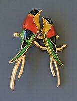 Two Birds on a tree Branch Brooch Pin in enamel on gold tone metal