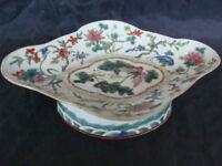 Piatto vaso cinese ceramica dipinta disegni in rilievo anni 40 50 old vintage