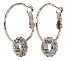 Swarovski Elements Crystal Circle Actual Pierced Earrings Rhodium 7144y