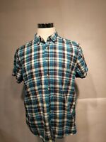 Simply Styled Men's Button Down Shirt Blue Plaid Short Sleeves Size XLarge
