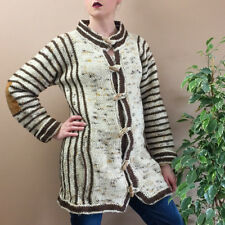 Vintage Brown Stripe Knit Wool Cardigan With Toggles Boho Women's Small UK 10