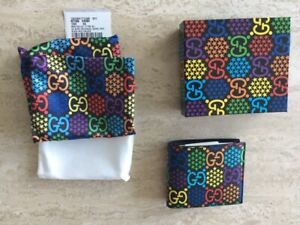 Gucci Psychedelic Black Small GG Bifold Leather Wallet Canvas Box Supreme 1 NEW